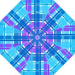 Gingham Pattern Blue Purple Shades Sheath Folding Umbrellas by Alisyart