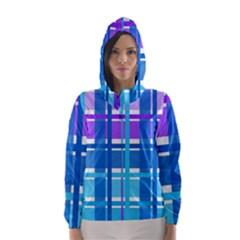 Gingham Pattern Blue Purple Shades Sheath Hooded Wind Breaker (women) by Alisyart