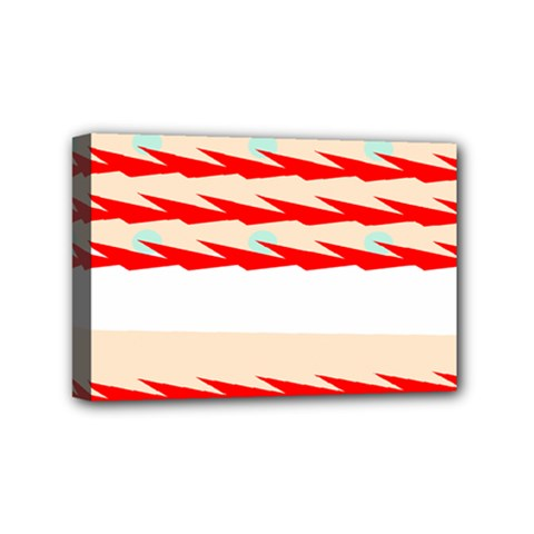 Chevron Wave Triangle Red White Circle Blue Mini Canvas 6  X 4  by Alisyart