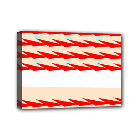 Chevron Wave Triangle Red White Circle Blue Mini Canvas 7  X 5  by Alisyart