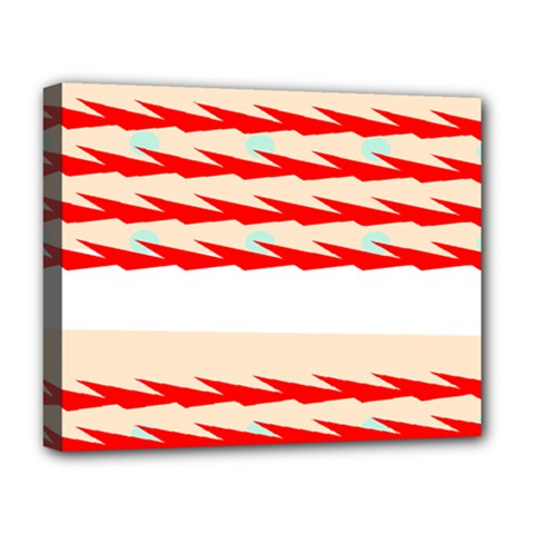Chevron Wave Triangle Red White Circle Blue Deluxe Canvas 20  X 16   by Alisyart