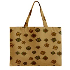 Compass Circle Brown Zipper Mini Tote Bag