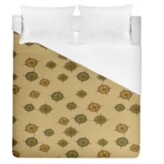 Compass Circle Brown Duvet Cover (queen Size) by Alisyart