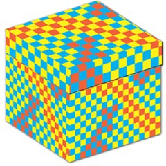 Optical Illusions Plaid Line Yellow Blue Red Flag Storage Stool 12   by Alisyart