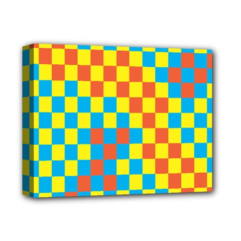 Optical Illusions Plaid Line Yellow Blue Red Flag Deluxe Canvas 14  X 11  by Alisyart
