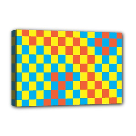 Optical Illusions Plaid Line Yellow Blue Red Flag Deluxe Canvas 18  X 12   by Alisyart