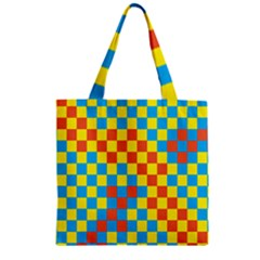 Optical Illusions Plaid Line Yellow Blue Red Flag Zipper Grocery Tote Bag by Alisyart