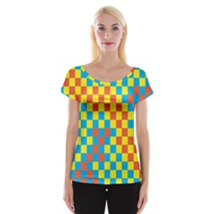 Optical Illusions Plaid Line Yellow Blue Red Flag Women s Cap Sleeve Top by Alisyart