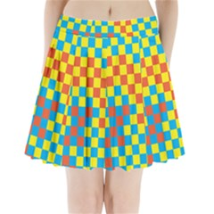 Optical Illusions Plaid Line Yellow Blue Red Flag Pleated Mini Skirt by Alisyart