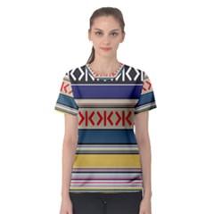 Original Code Rainbow Color Chevron Wave Line Women s Sport Mesh Tee by Alisyart