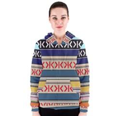 Original Code Rainbow Color Chevron Wave Line Women s Zipper Hoodie by Alisyart