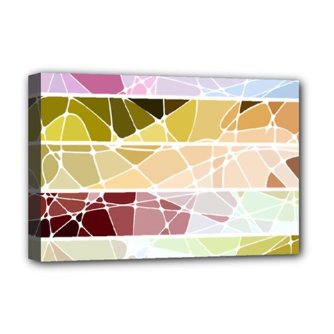 Geometric Mosaic Line Rainbow Deluxe Canvas 18  X 12   by Alisyart