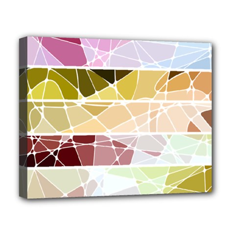 Geometric Mosaic Line Rainbow Deluxe Canvas 20  X 16   by Alisyart