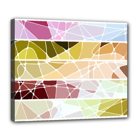 Geometric Mosaic Line Rainbow Deluxe Canvas 24  X 20   by Alisyart