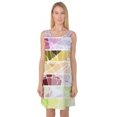 Geometric Mosaic Line Rainbow Sleeveless Satin Nightdress by Alisyart