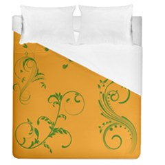 Nature Leaf Green Orange Duvet Cover (queen Size) by Alisyart
