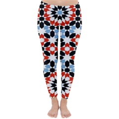Oriental Star Plaid Triangle Red Black Blue White Classic Winter Leggings by Alisyart