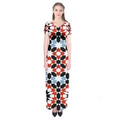 Oriental Star Plaid Triangle Red Black Blue White Short Sleeve Maxi Dress by Alisyart