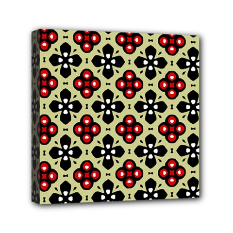 Seamless Floral Flower Star Red Black Grey Mini Canvas 6  X 6  by Alisyart