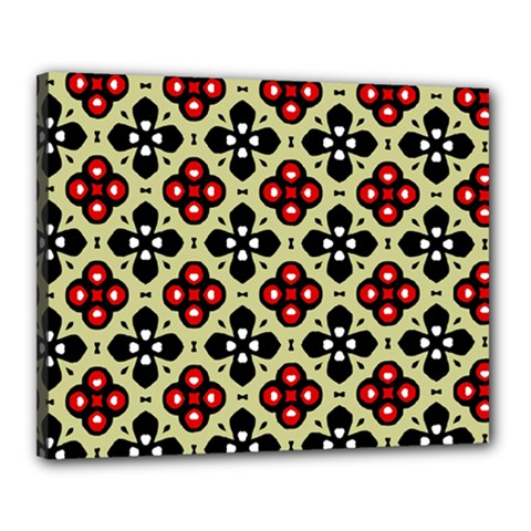 Seamless Floral Flower Star Red Black Grey Canvas 20  X 16  by Alisyart