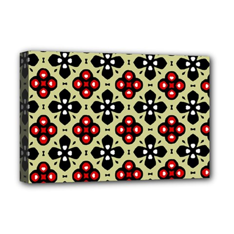 Seamless Floral Flower Star Red Black Grey Deluxe Canvas 18  X 12   by Alisyart