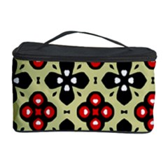 Seamless Floral Flower Star Red Black Grey Cosmetic Storage Case by Alisyart