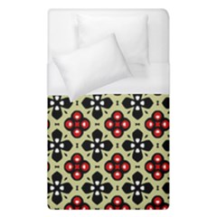 Seamless Floral Flower Star Red Black Grey Duvet Cover (single Size) by Alisyart
