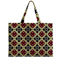 Seamless Floral Flower Star Red Black Grey Medium Tote Bag by Alisyart