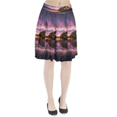 Landscape Reflection Waves Ripples Pleated Skirt