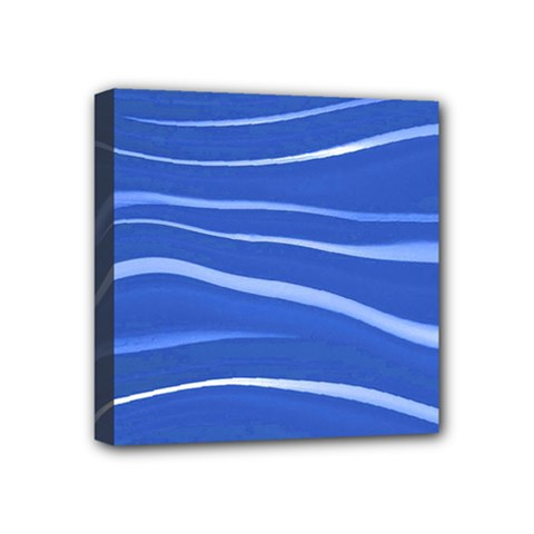Lines Swinging Texture  Blue Background Mini Canvas 4  X 4  by Amaryn4rt