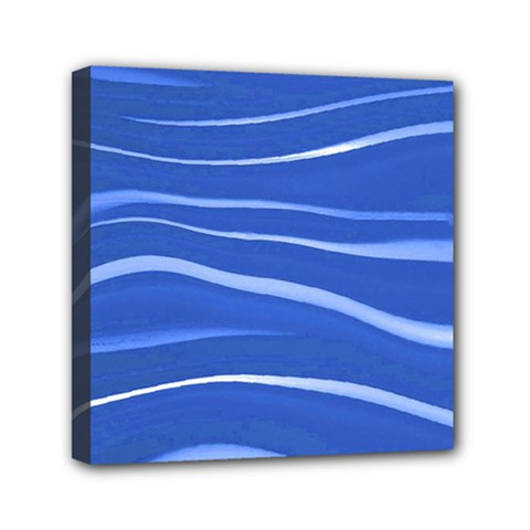Lines Swinging Texture  Blue Background Mini Canvas 6  X 6  by Amaryn4rt