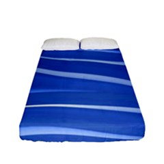 Lines Swinging Texture  Blue Background Fitted Sheet (full/ Double Size) by Amaryn4rt