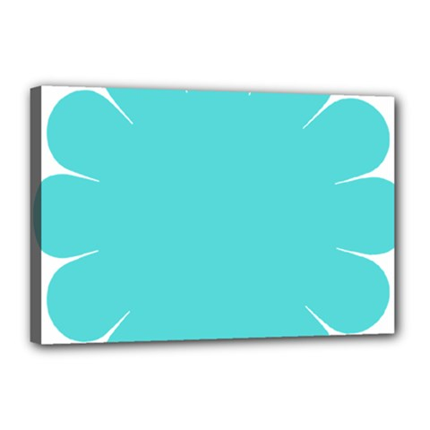 Turquoise Flower Blue Canvas 18  X 12  by Alisyart