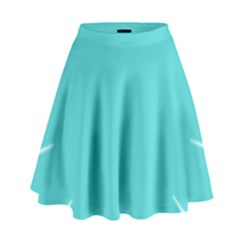 Turquoise Flower Blue High Waist Skirt by Alisyart
