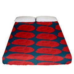 Rose Repeat Red Blue Beauty Sweet Fitted Sheet (california King Size) by Alisyart