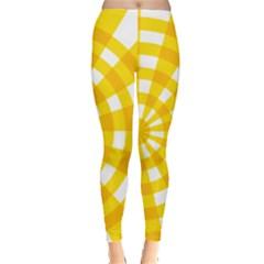 Weaving Hole Yellow Circle Leggings  by Alisyart