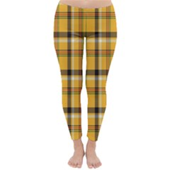 Plaid Yellow Line Classic Winter Leggings by Alisyart