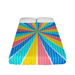 Rhythm Heaven Megamix Circle Star Rainbow Color Fitted Sheet (full/ Double Size) by Alisyart