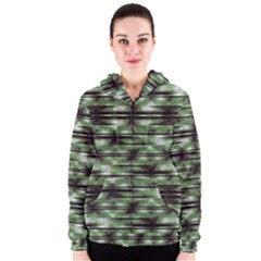 Stripes Camo Pattern Print Women s Zipper Hoodie by dflcprintsclothing