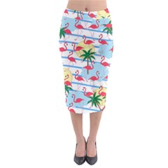 Flamingo pattern Midi Pencil Skirt by Valentinaart