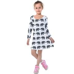 Indian Elephant Pattern Kids  Long Sleeve Velvet Dress by Valentinaart