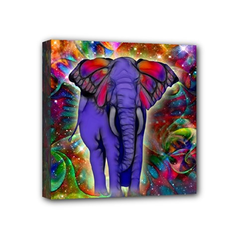 Abstract Elephant With Butterfly Ears Colorful Galaxy Mini Canvas 4  X 4  by EDDArt
