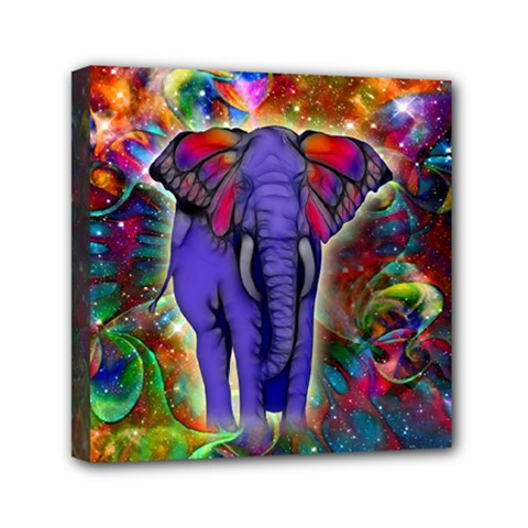 Abstract Elephant With Butterfly Ears Colorful Galaxy Mini Canvas 6  X 6  by EDDArt