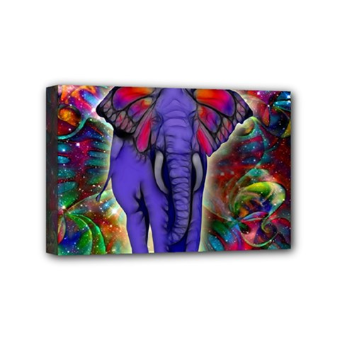 Abstract Elephant With Butterfly Ears Colorful Galaxy Mini Canvas 6  X 4  by EDDArt