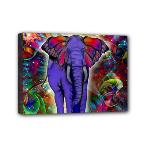 Abstract Elephant With Butterfly Ears Colorful Galaxy Mini Canvas 7  X 5  by EDDArt