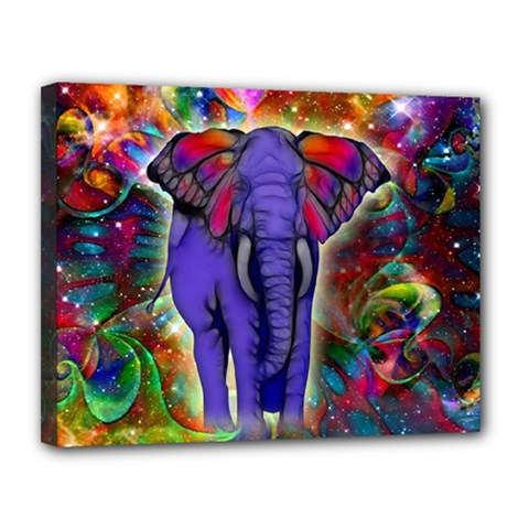 Abstract Elephant With Butterfly Ears Colorful Galaxy Canvas 14  X 11  by EDDArt