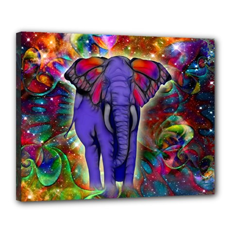 Abstract Elephant With Butterfly Ears Colorful Galaxy Canvas 20  X 16  by EDDArt