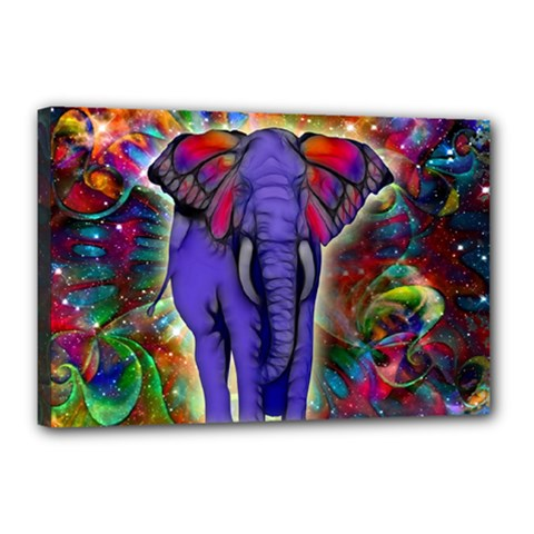 Abstract Elephant With Butterfly Ears Colorful Galaxy Canvas 18  X 12  by EDDArt