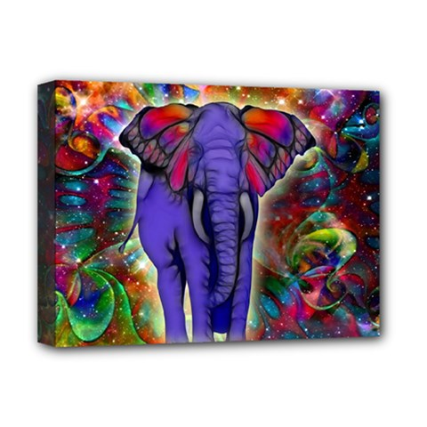 Abstract Elephant With Butterfly Ears Colorful Galaxy Deluxe Canvas 16  X 12   by EDDArt