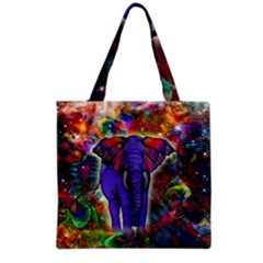 Abstract Elephant With Butterfly Ears Colorful Galaxy Grocery Tote Bag by EDDArt
